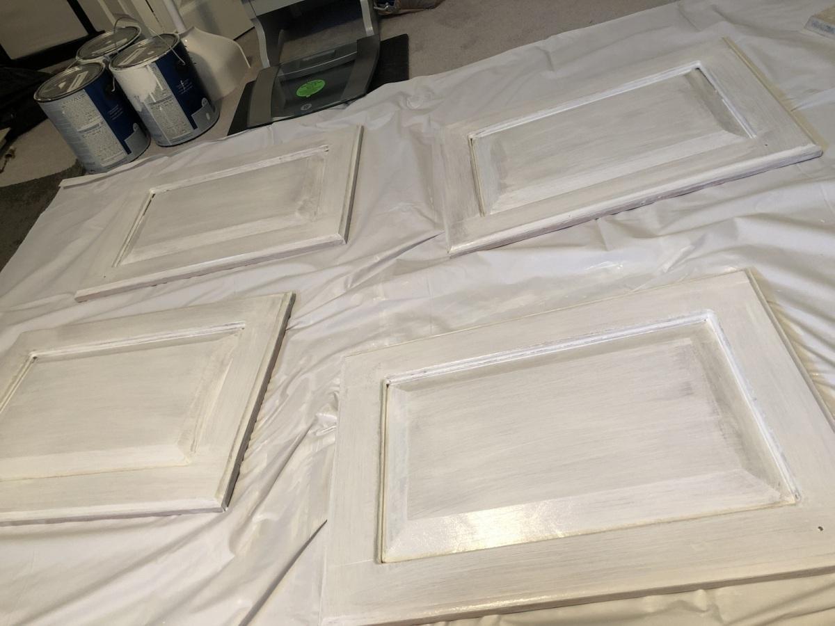 Primed vanity doors...